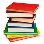 Stapel von Büchern, die isoliert auf der weißen — Stockfoto