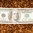 Close up of coffee beans and dollars — Stock Photo #1973465