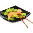 Salmon sushi isolated on the white — Stock Photo