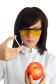 женщина ученых, потребители инъекционных химических веществ — Стоковое фото