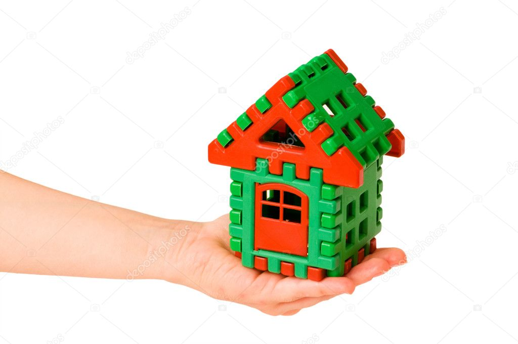 House in hand isolated on the white — Stockfoto #1971559
