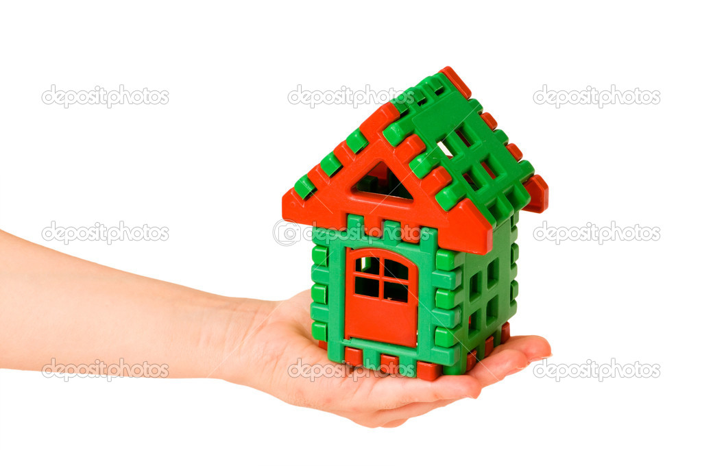 House in hand isolated on the white  Foto Stock #1971559