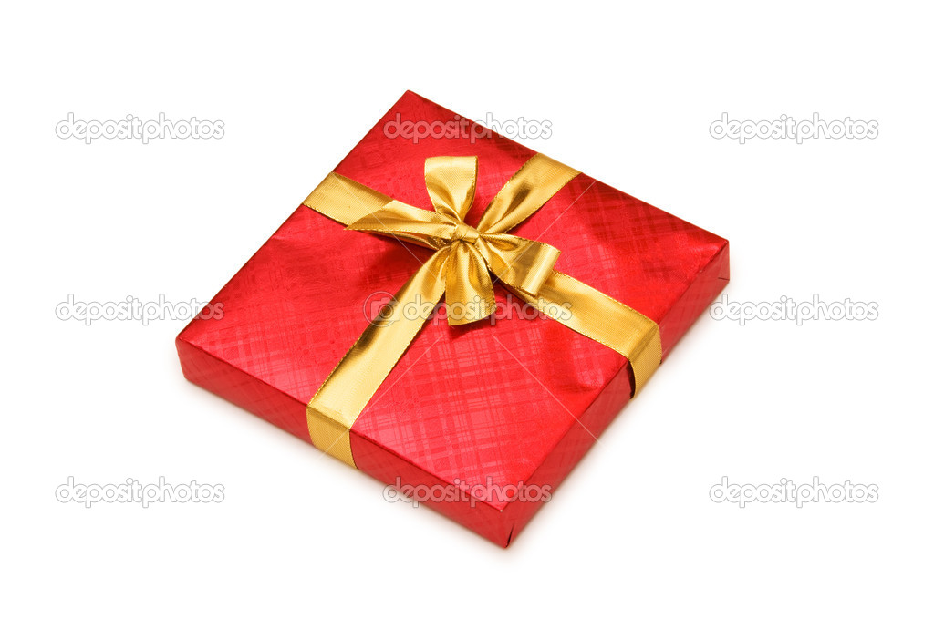 Red gift box isolated on the white — Stock Photo #1971609