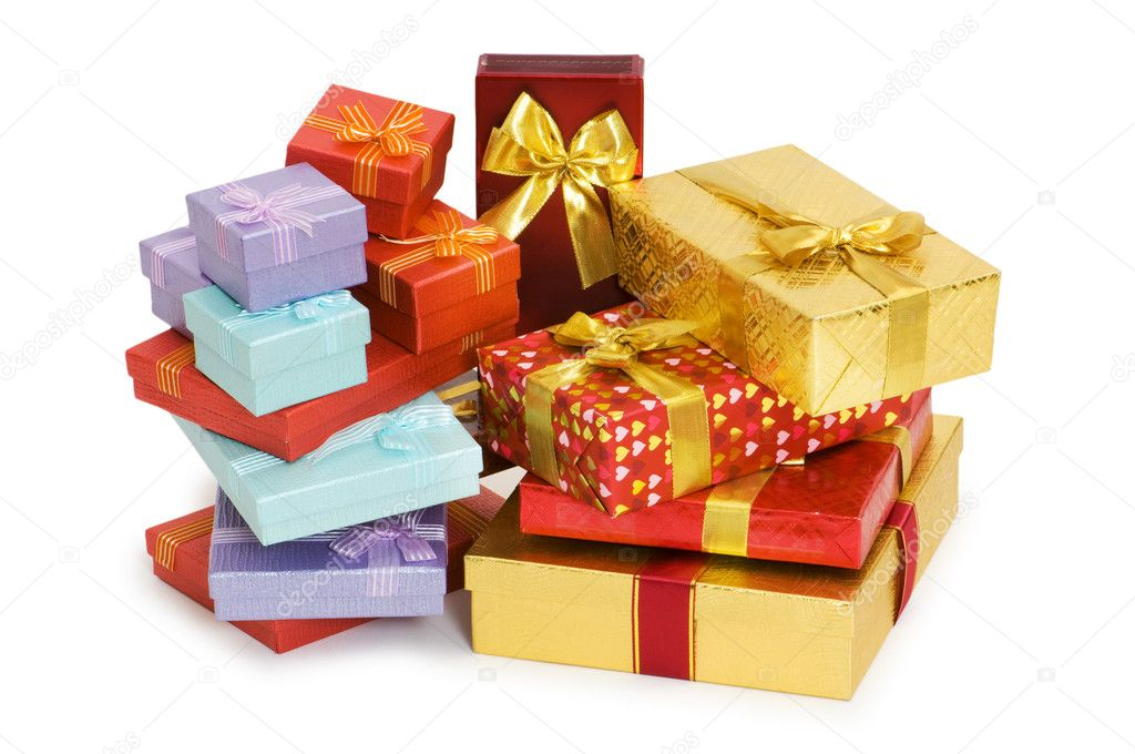 Many giftboxes isolated on the white background — Stock Photo #1972176