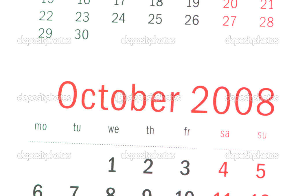 Close up of October 2008 from calendar  Stock Photo #1973549