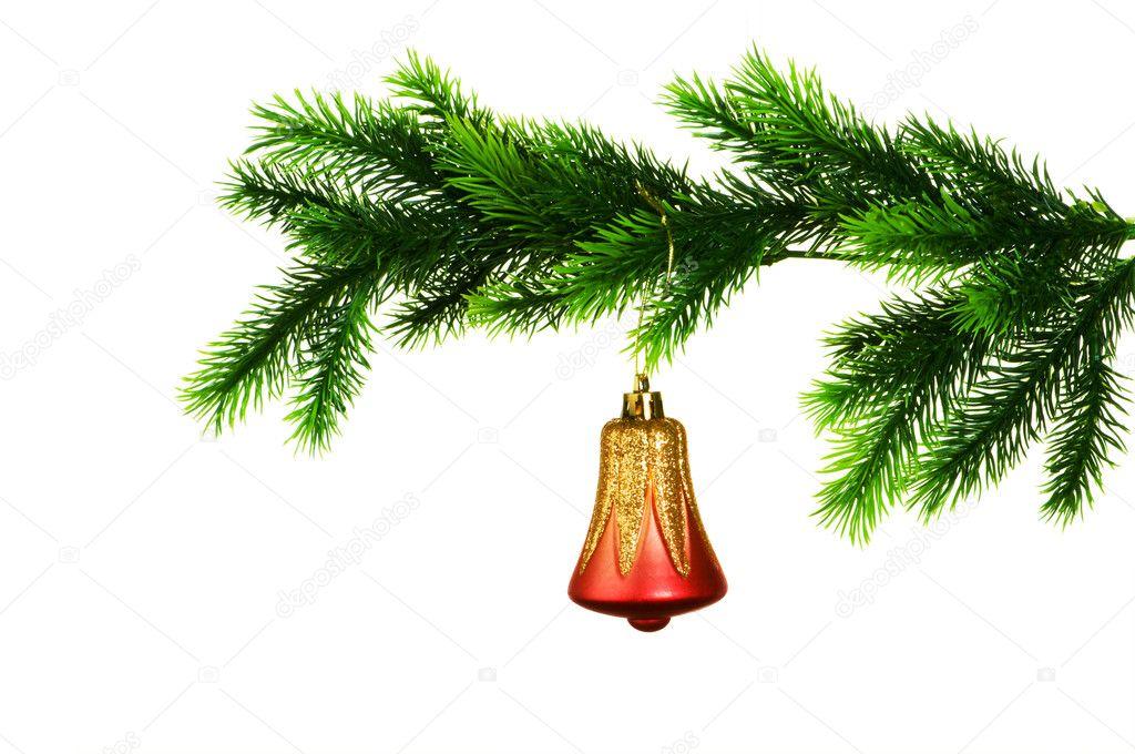 圣诞装饰白色上被隔绝在树上