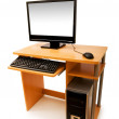 Computer and desk isolated — Stock Photo