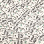 Background with many dollar bills — Stock Photo