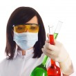 Woman with chemical tubes — Stock Photo #2529697