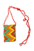 Woman bag made of colourful beads — Stock Photo