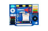 Close up of colourful sewing kit — Stock Photo
