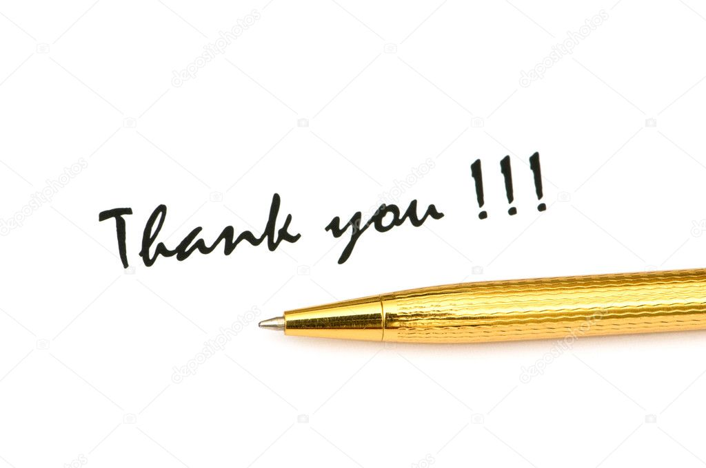 Thank you message and pen isolated on white  Stock Photo #2525430
