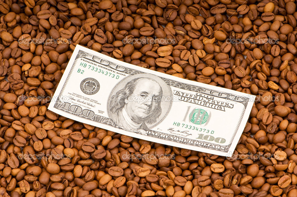 Close up of coffee beans and  dollars — Stock Photo #2527382