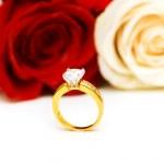 Обручальное кольцо и розы — Стоковое фото