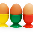 Brown eggs in holder isolated — Stock Photo