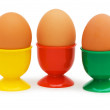 Brown eggs in holders isolated — Stock Photo
