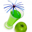 Green apple and juice isolated — Stock Photo