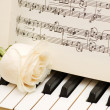 Romantic concept - rose on piano — Stock Photo