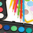 Palette and pencils isolated — Stock Photo