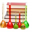 Chemistry concept with tubes and books — Stock Photo