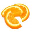 Three orange slices isolated — Stock Photo