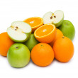 Apple and oranges isolated — Stock Photo
