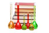 Concepto de química con tubos y libros — Foto de Stock