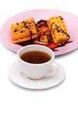 Tea and belgian waffles isolated — Stock Photo