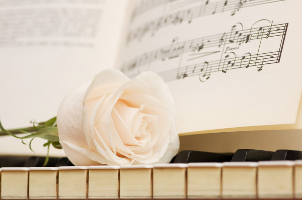 Romantic concept -  rose on piano — Stok fotoğraf