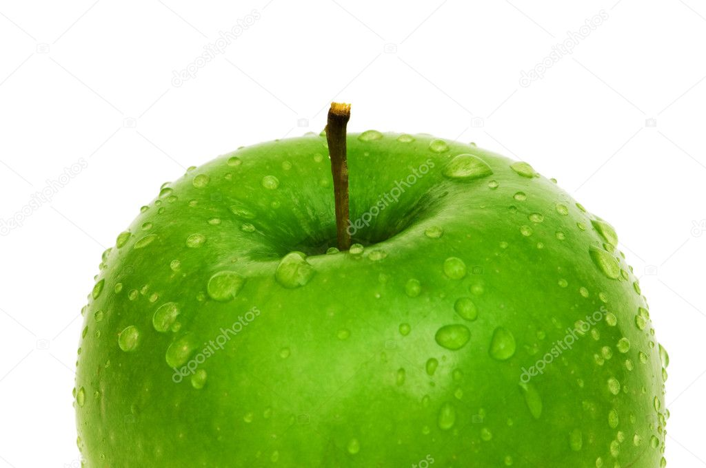Green apple with dew isolated on white — Stock Photo #2601783