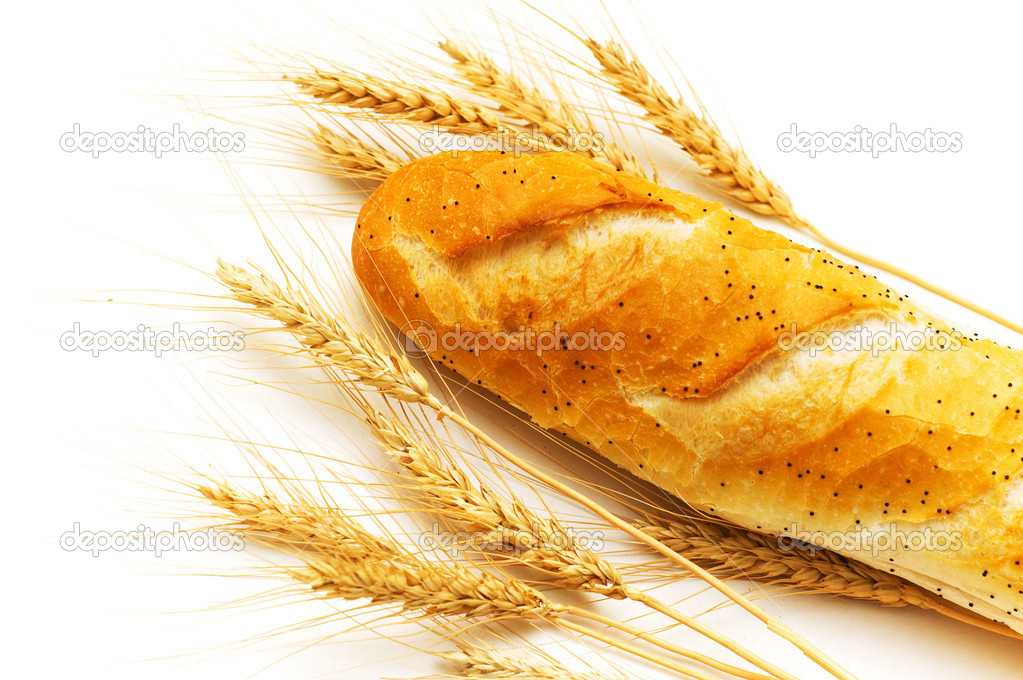 Bread and wheat ears isolated on white — Stock Photo #2603166
