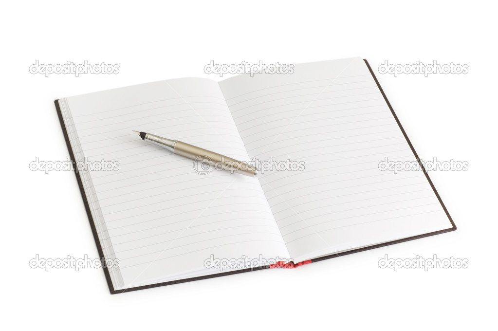 Pen over the notebook isolated on the white — Stock Photo #2604476