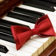 Red bow tie on the piano keys — Stock Photo