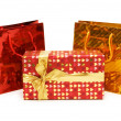 Bags and gift box isolated on the white — Stock Photo