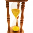Wooden hourglass isolated on the white — Stock Photo