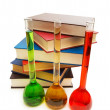Books and tubes isolated - Stock Photo