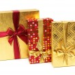 Three giftboxes isolated on the white — Stock Photo