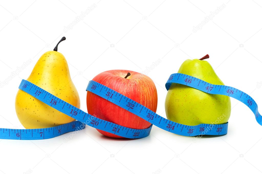 Pears and apple illustrating fruit dieting concept — Stock Photo #2633951