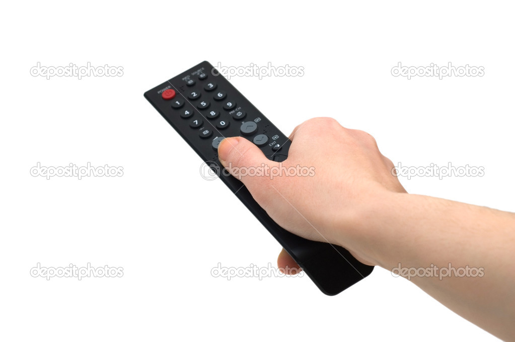 Hand with remote control isolated on white — Stock Photo #2634316