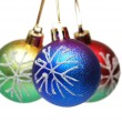 Three christmas balls isolated - 图库照片