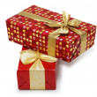 Stock Photo: Two gift boxes isolated on the white