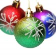 Three Christmas balls hanging — Stok fotoğraf