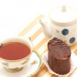 Cup of tea, chocolate cake — Stock Photo