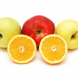 Apples and oranges isolated — Stock Photo