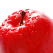 Red apple with water drops isolated — Stock Photo