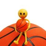 Smilie sitting on basketball isolated — Stock Photo