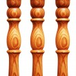 Wooden pilasters isolated - Stock Photo