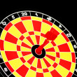 Darts board with one arrow — Stock Photo #2656186