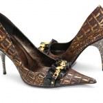 par de zapatos femeninos brillantes aislados — Foto de Stock