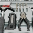 Stock Photo: Toolkit with various carpenter tools